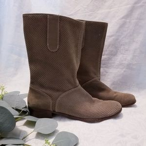 Anthropologie Candela NYC Suede Perforated Boots 8